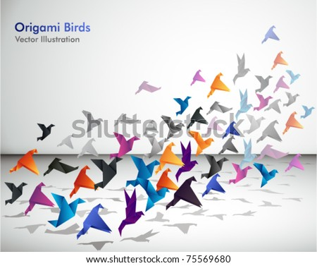 stock vector : Indoor flight, Origami Birds start to fly in closed space.