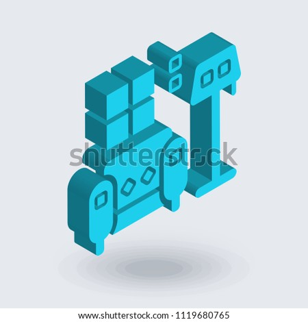 Indoor icon vector isolated on white background for your web and mobile app design, Indoor logo concept , isometric 3D icon