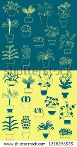Indoor plants vector icons set illustration silhouette sketch