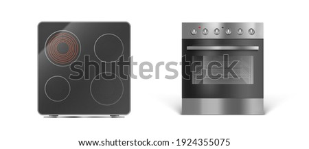 Induction cooking panel with oven, electric stove front and top view. Vector realistic set of kitchen cooker with transparent glass oven door, black ceramic stovetop isolated on white background