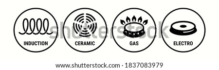 Induction icon, ceramic, gas and electric cooking hob vector symbols. Coking stove or oven grate cooker and pans surface cookware icons of induction, electro, gas and ceramic logo signs