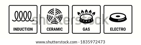 Induction icon, electric hob and gas cooking stove or ceramic oven grate cooker, vector symbol. Induction, electro, gas and ceramic icons, cookware pans surface suitable use logo signs Сток-фото ©