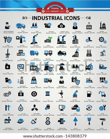 Industrial and Building icons, Blue version,vector