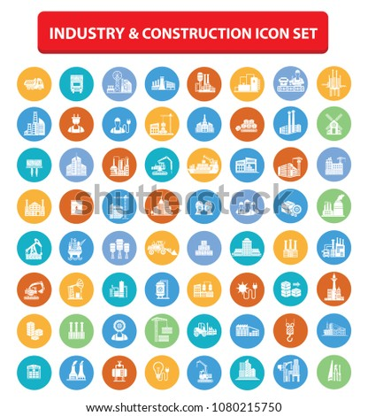 Industrial and construction icon set vector design