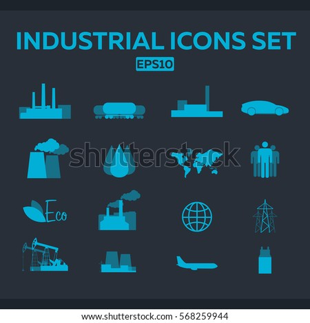 Industrial and factory icons set. Vector flat illustration