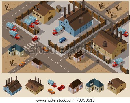 Industrial Area Isometric. Set of very detailed isometric vector