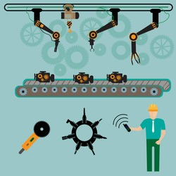 Industrial automation conveyor robotic hands for manufacture orthogonal horizontal banners with packaging and assembly line flat isolated vector illustration