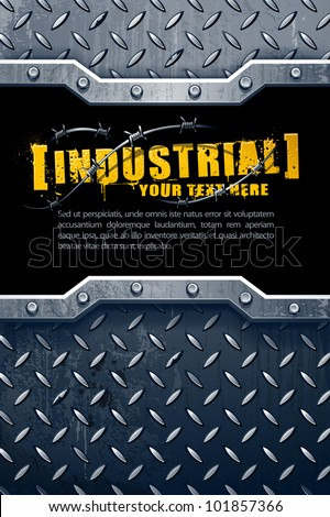 Industrial background with grunge elements and place for your text. Vector illustration.