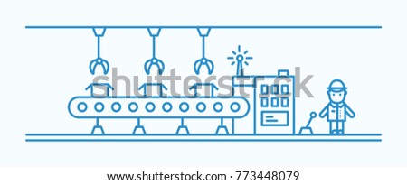 Industrial belt conveyor equipped with hanging manipulators conveying boxes, factory worker in hard hat controlling production process. Monochrome vector illustration drawn with blue contour lines.