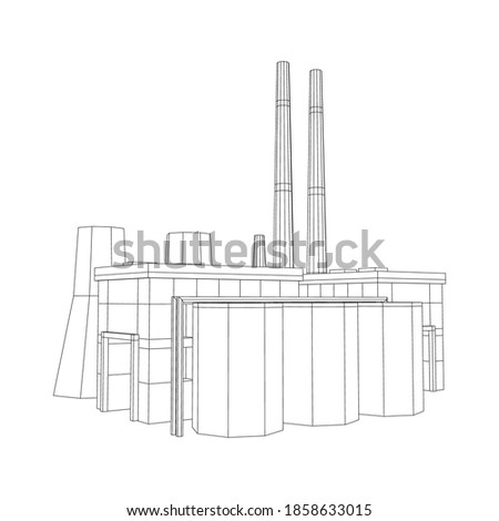 Industrial building factorie facilitie power plant. Wireframe low poly mesh vector illustration. Photo stock ©