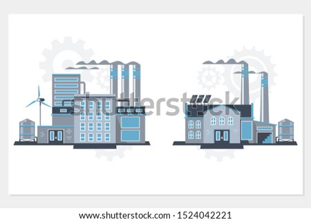 Industrial building factory and power plants icon set.Flat vector industrial building illustrations.