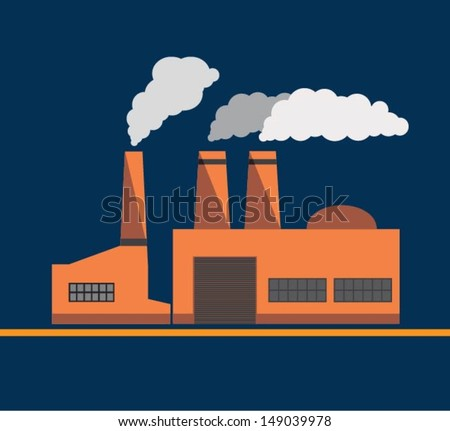 Industrial building factory and power plants vector