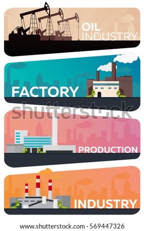 Industrial building factory set. Manufacturing, Oil Industry Vector flat illustration