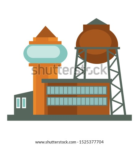 Industrial building, factory unit, power plant construction complex. Water tower, big reservoir exterior. Two story offices or warehouse facilities with multiple windows. Vector illustration.