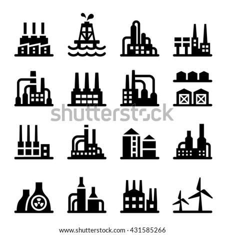 Industrial building icon Vector illustration
