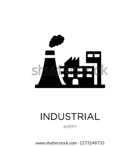 industrial building icon vector on white background, industrial building trendy filled icons from Army collection, industrial building simple element illustration