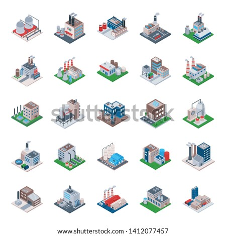 Industrial Building Isometric Vector Icons