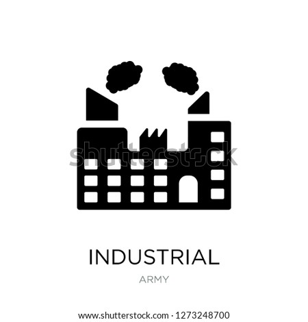 industrial building with contaminants icon vector on white background, industrial building with contaminants trendy filled icons from Army collection