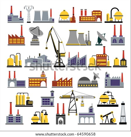 Industrial buildings and plants, pumping stations, boiler houses, factories and industrial buildings in the flat style