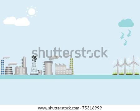 Industrial buildings and wind turbines