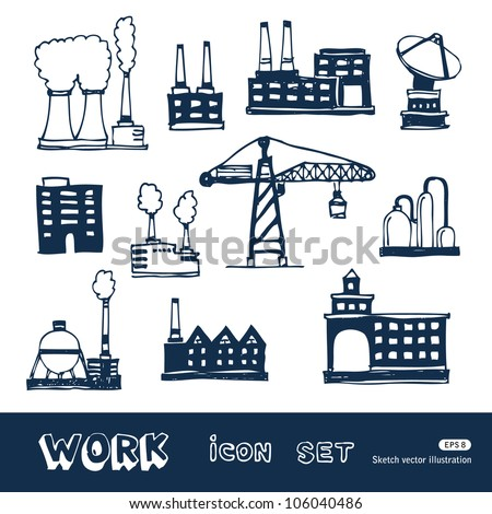 Industrial buildings icons set. Hand drawn sketch illustration isolated on white background