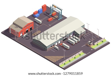 Industrial buildings isometric composition with parking lot cargo handling garages trucks and containers with crane manipulators vector illustration