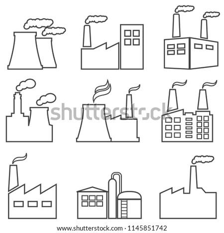 Industrial buildings, nuclear plants, factories line web icon set