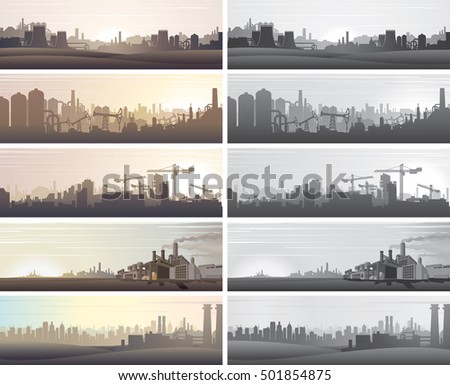 Industrial Business Landscapes. Abstract Factory, Nuclear Plant, Oil Refinery, Urban Buildings, Chemical Manufacture etc... Set of Vector Banners