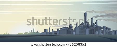 Industrial Cityscape Vector. Abstract Industrial Skyline