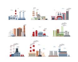 Industrial complex, Factory buildings color icons set