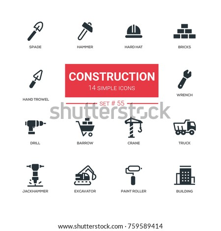 Industrial concept, construction - line design icons set. Hard hat, bricks, spade, hammer, hand trowel, wrench, drill, barrow, crane, jackhammer, truck, excavator, paint roller, building