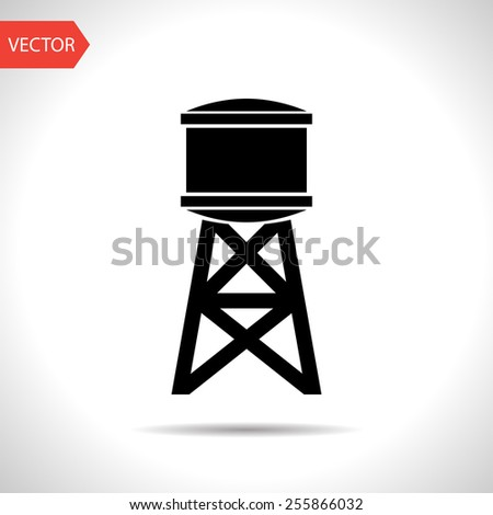 Industrial construction with water tank. Vector illustration