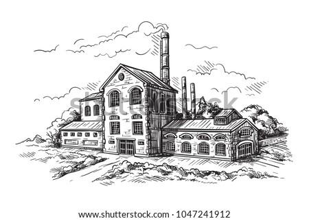 industrial distillery factory. Vector illustration