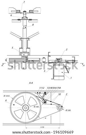 Industrial engineering drawing fan motor. Vector format
