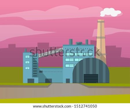 Industrial enterprises vector, cityscapes and cities with factories. Smoke and fumes from pipes, industry development, manufacture old town structure. Urbanscape road Building of factory. Flat cartoon