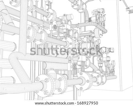 Industrial equipment. Wire-frame. Vector EPS10 format. Vector rendering of 3d stock photo