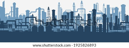 Industrial factories silhouette background. Blue oil refinery complex with pipes and tanks gas production rigs with endless steel vector landscape.