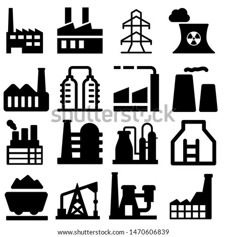 Industrial factories vector icons set. Factory icon illustration. Industry power, chemical manufacturing building warehouse nuclear energy plant.
