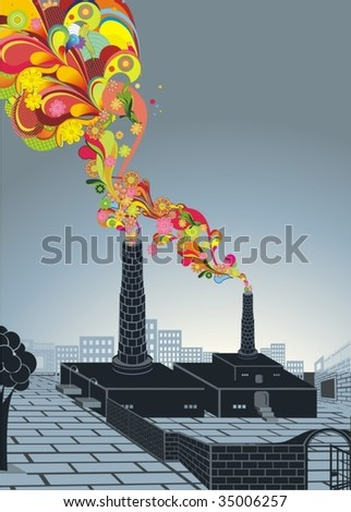 industrial factory and colorful floral smoke