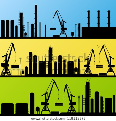 Industrial factory and crane construction site landscape silhouette illustration collection background vector