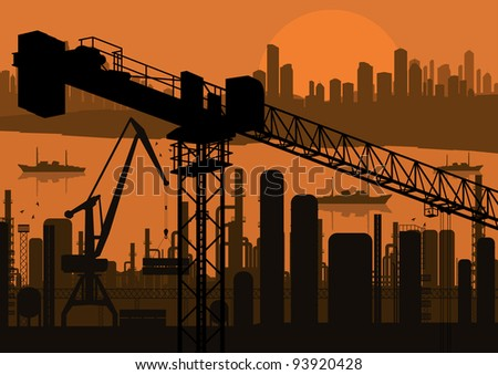 Industrial factory and crane landscape skyline background illustration vector