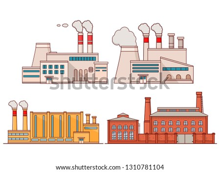 Industrial factory building with pipes.Power electricity industry.Manufactory icons flat vector.The plant isolated on a white background.