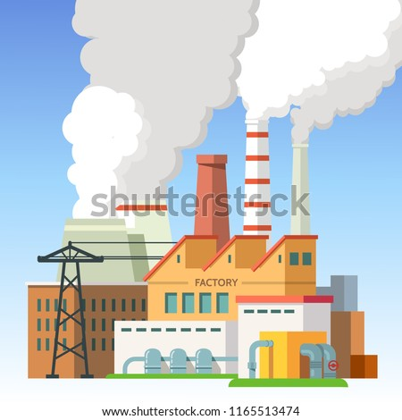 Industrial factory buildings and smoking chimney pipes with blue sky in background. Combined heat and power station or thermal power plant scenery. Industry air pollution. Flat vector illustration