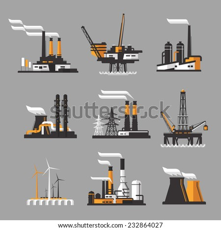 industrial factory icons on gray background