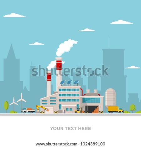 Industrial factory in flat style a vector an illustration. Factory, road, tree, window facade. Eco style factory ity landscape vector illustration