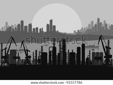 Industrial factory landscape skyline background illustration vector