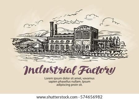 Industrial factory, plant sketch. Vintage building vector illustration