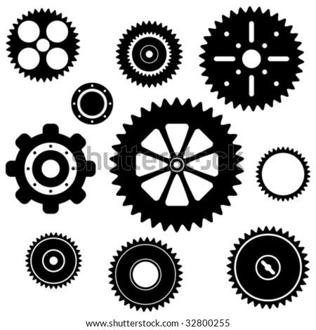 industrial gear wheel set - stock vector