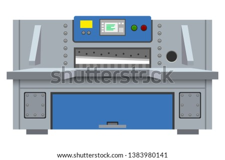 Industrial guillotine paper cutter. Professional press machine. Paper cutting machine for printing office. Vector illustration. Foto d'archivio ©