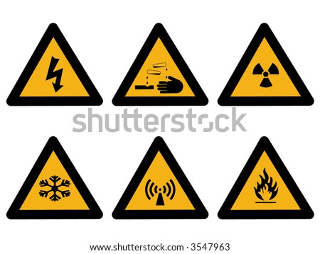Industrial hazard symbols extreme cold, flammable, radioactive electrical, corrosive